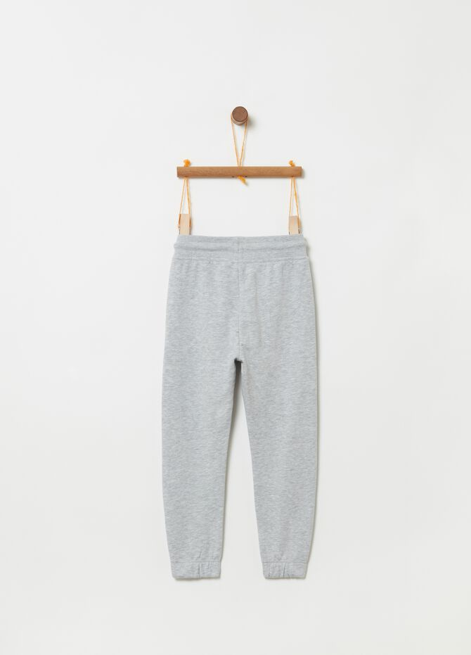 Mélange trousers with drawstring and pockets