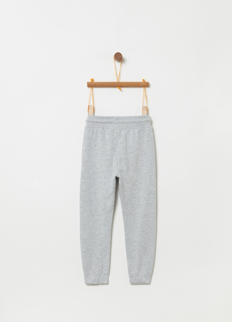 Mélange trousers with drawstring and pockets image number null
