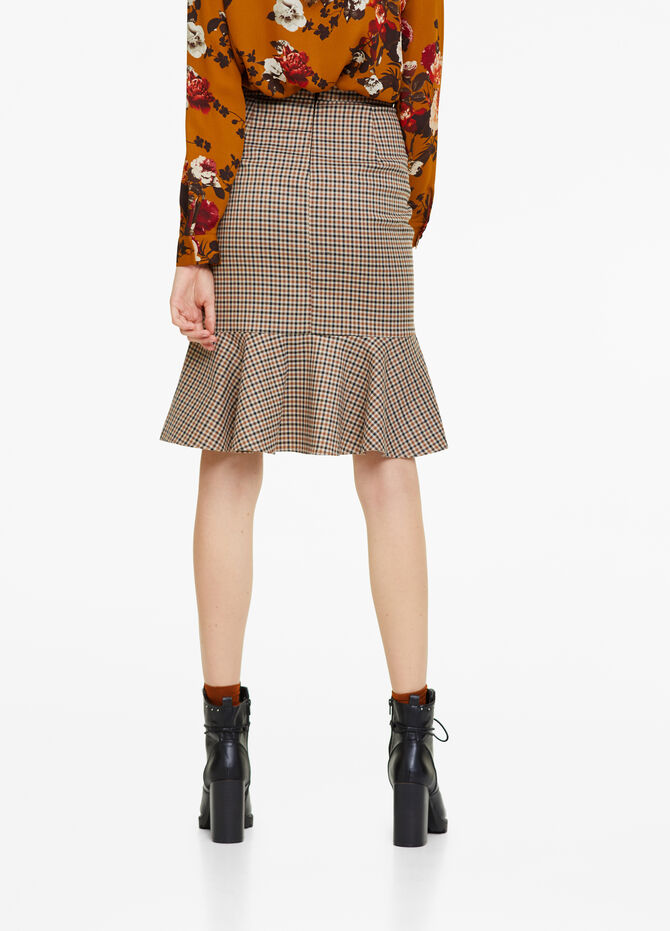 Scottish tweed skirt with flounce