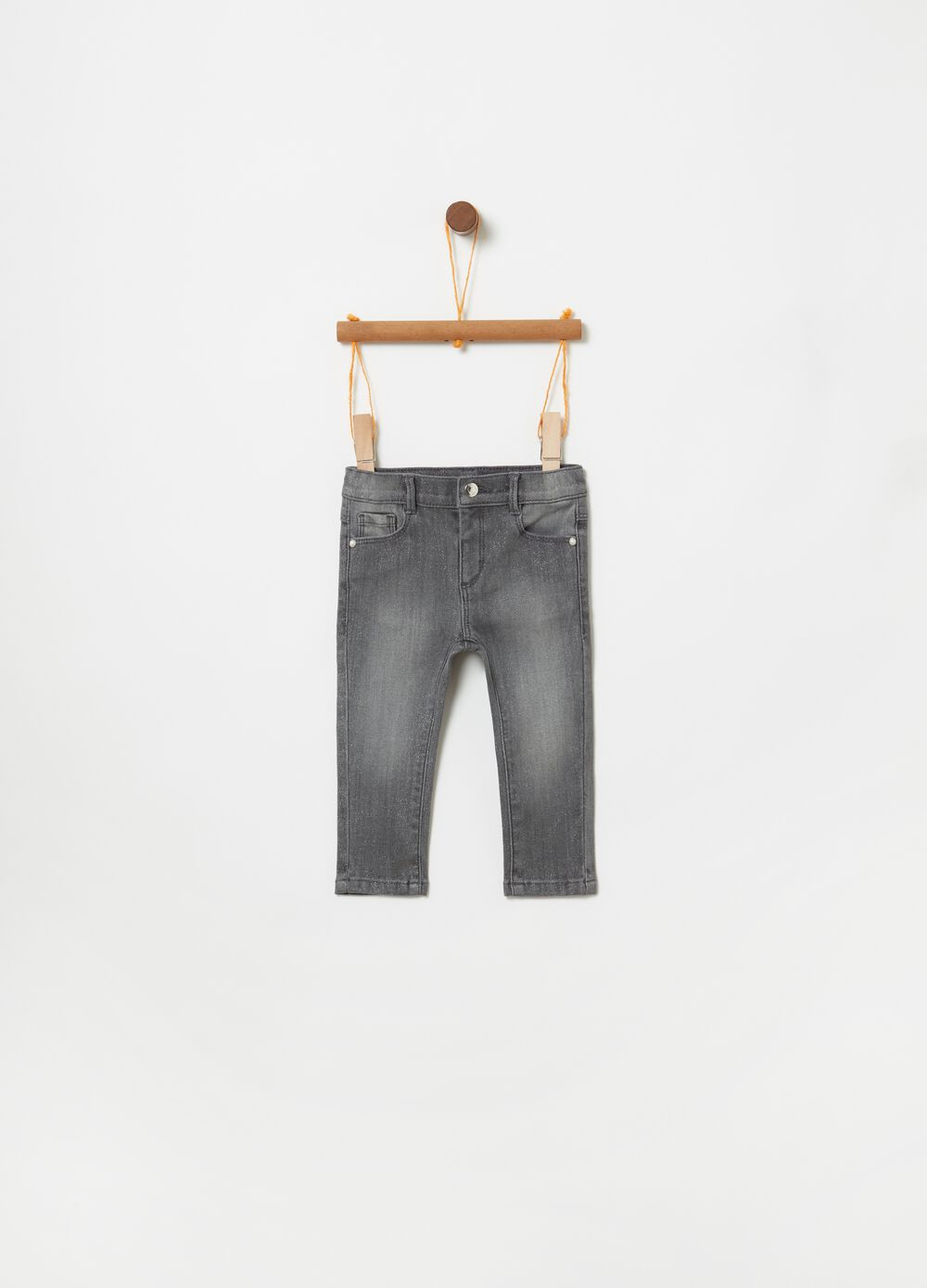 Slim-fit jeans with five pockets and lurex
