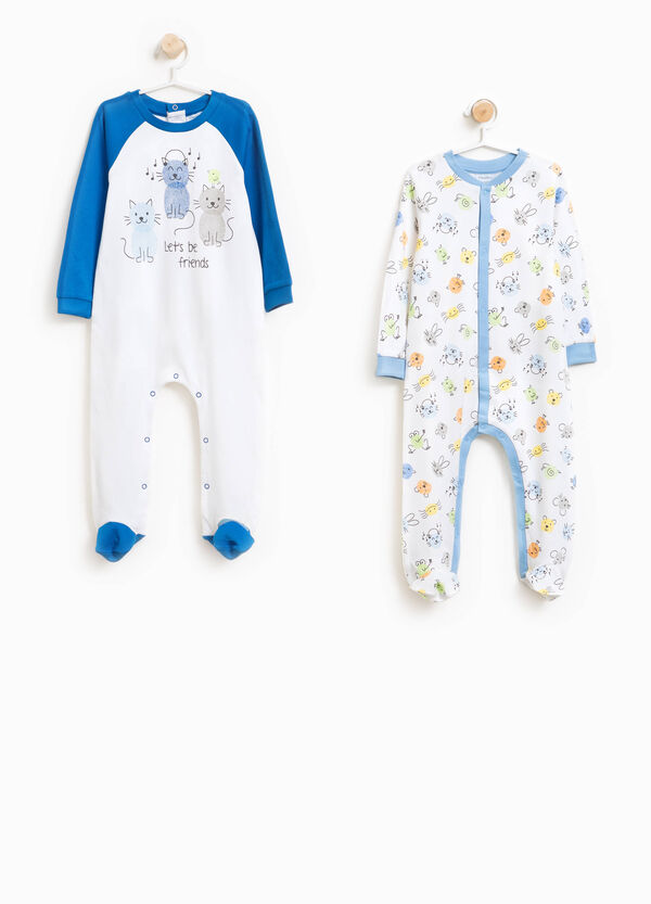 Two-pack printed and patterned cotton onesies | OVS