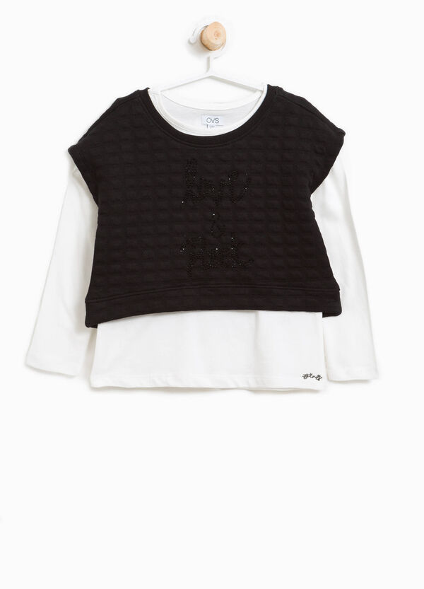 Set of T-shirt and sweatshirts con embossed weave | OVS