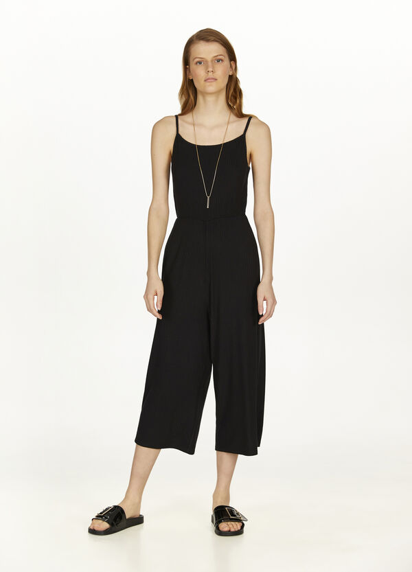 Ribbed stretch viscose playsuit