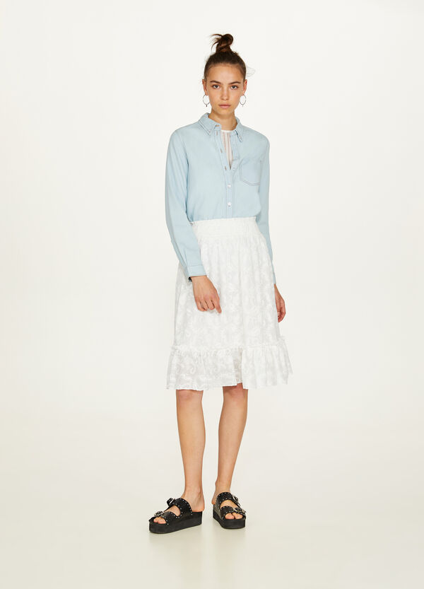 Cotton and viscose skirt with floral embroidery