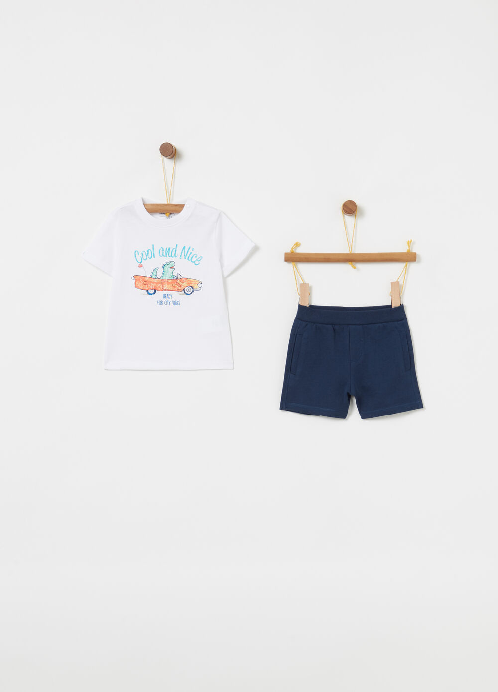Jogging set t-shirt shorts con stampa