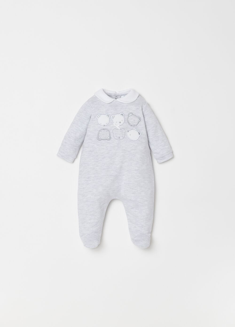 Onesie with mélange feet and teddy bear embroidery