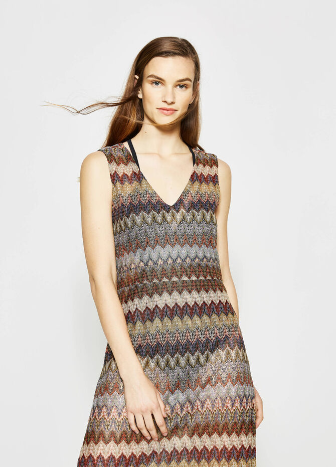 Long patterned sleeveless dress