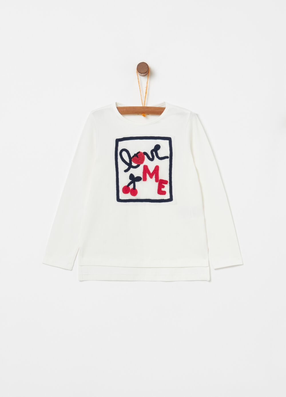 Stretch biocotton T-shirt with lettering embroidery