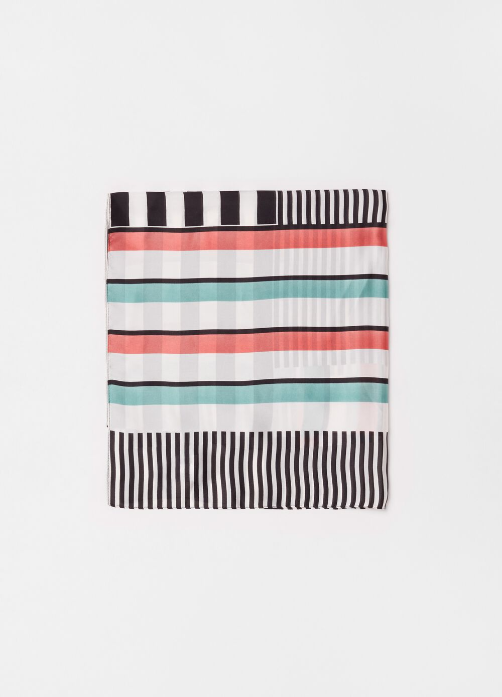Multicoloured foulard with striped pattern