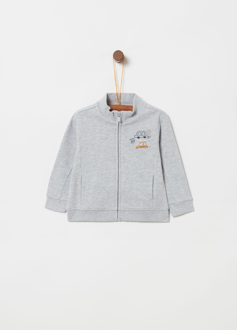 Mélange fleece full-zip top with print