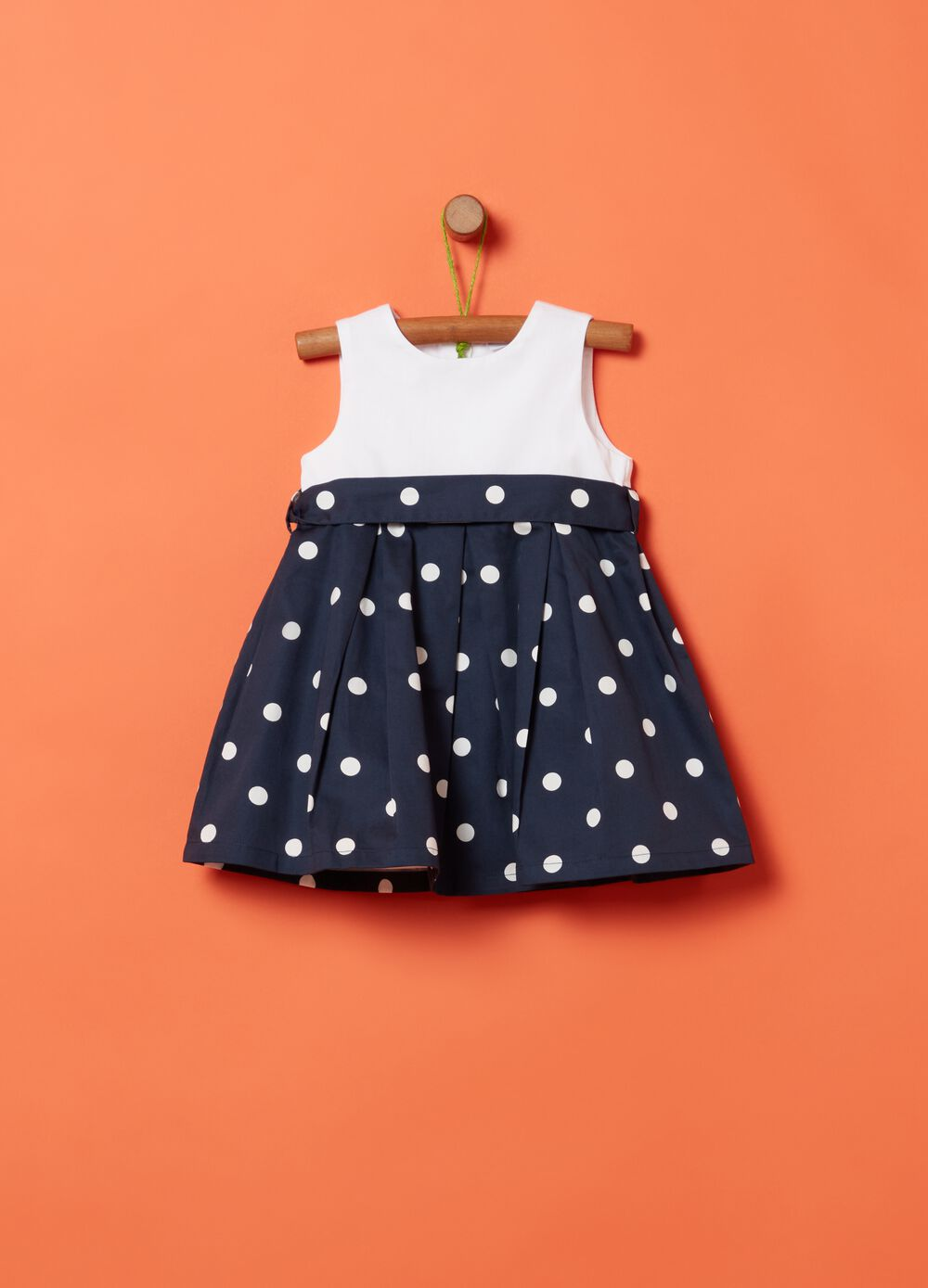 Two-tone dress in 100% cotton