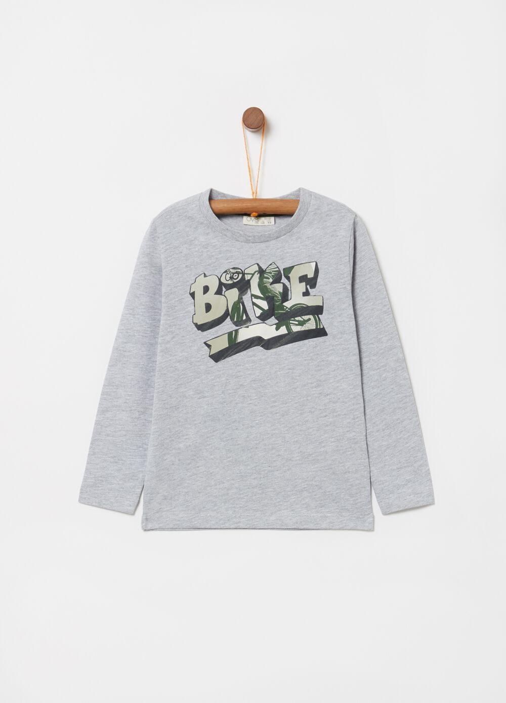 Mélange cotton and viscose T-shirt with print