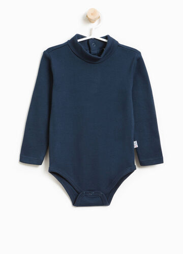 100% cotton bodysuit with high neck