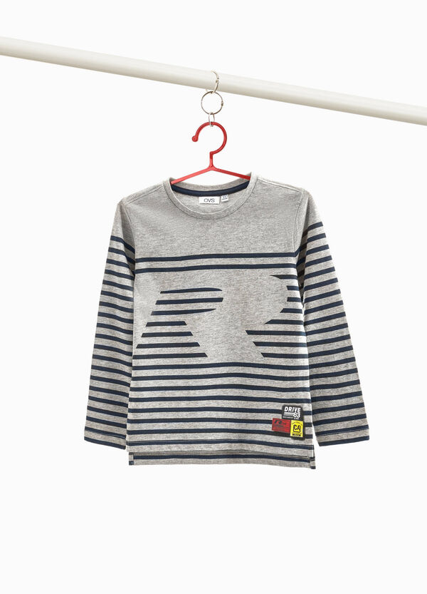 Viscose and cotton striped T-shirt with patch