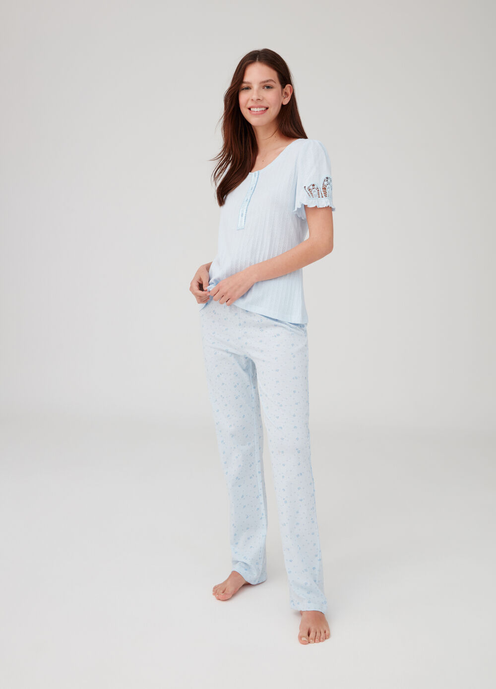 Openwork pyjama top and trousers with print