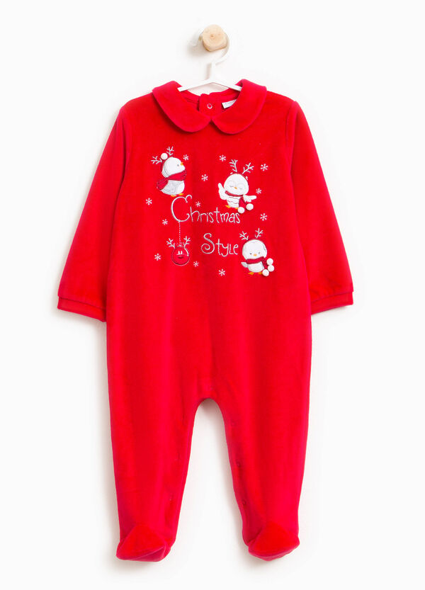 Velour onesie with feet and collar | OVS