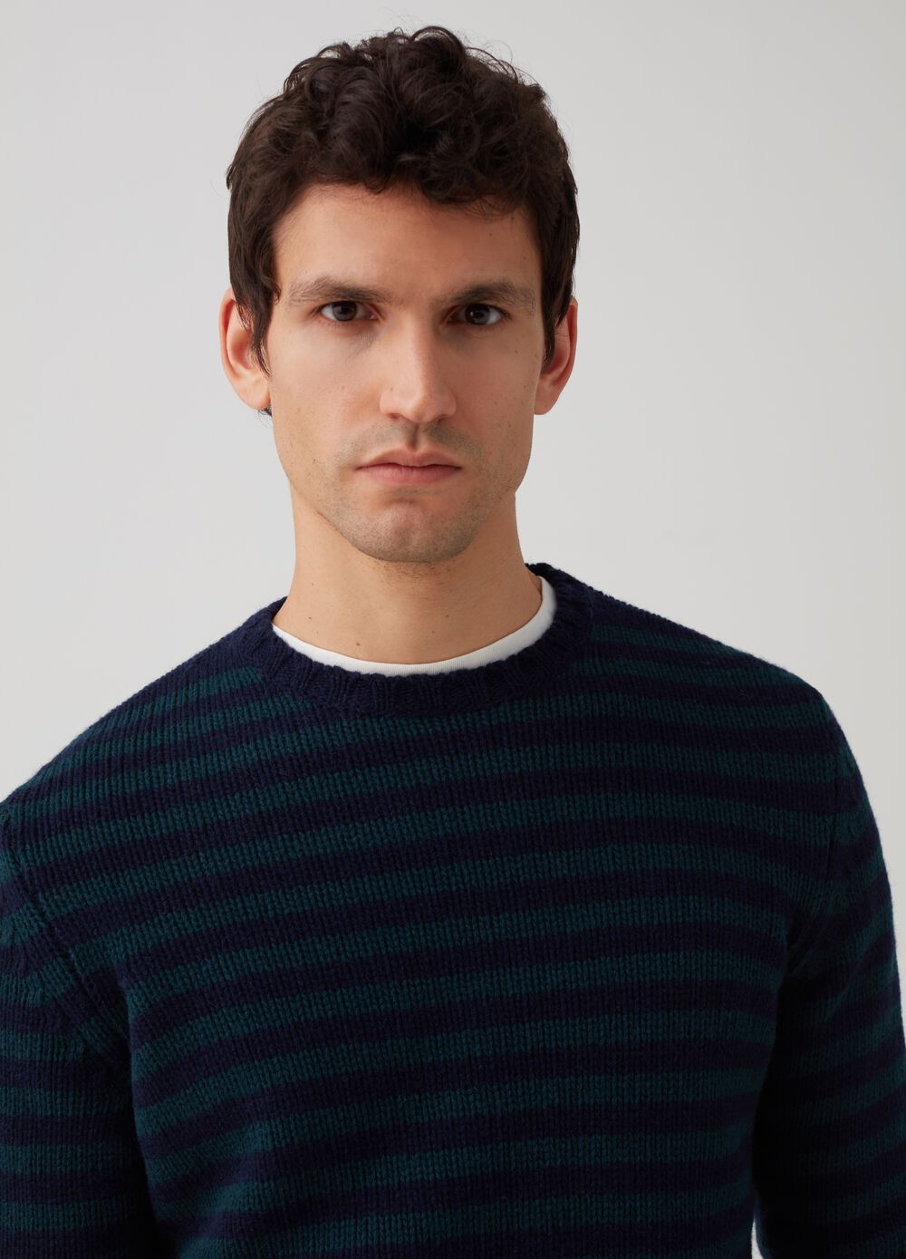 Rumford pullover with striped wool