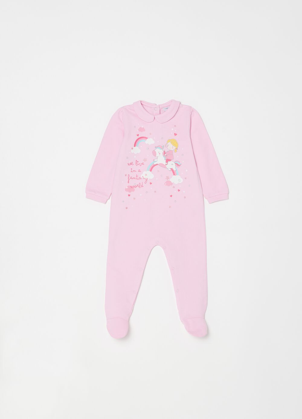 100% organic cotton onesie with feet and print