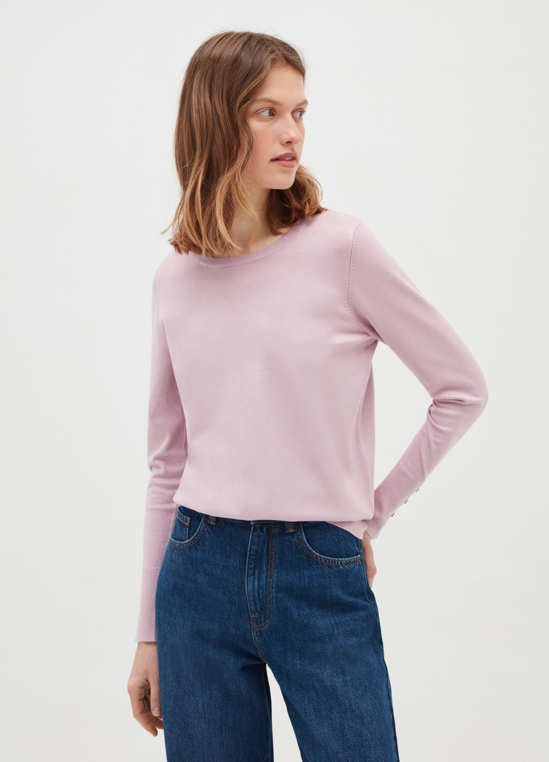 Pullover with buttons on cuffs image number null