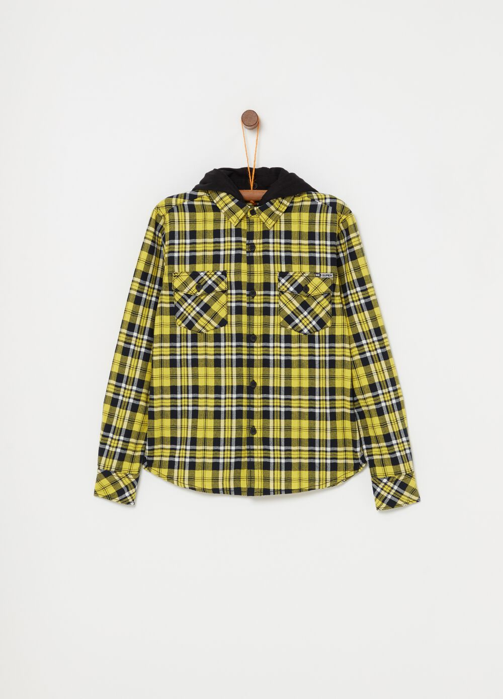 Shirt with hood, print and checks