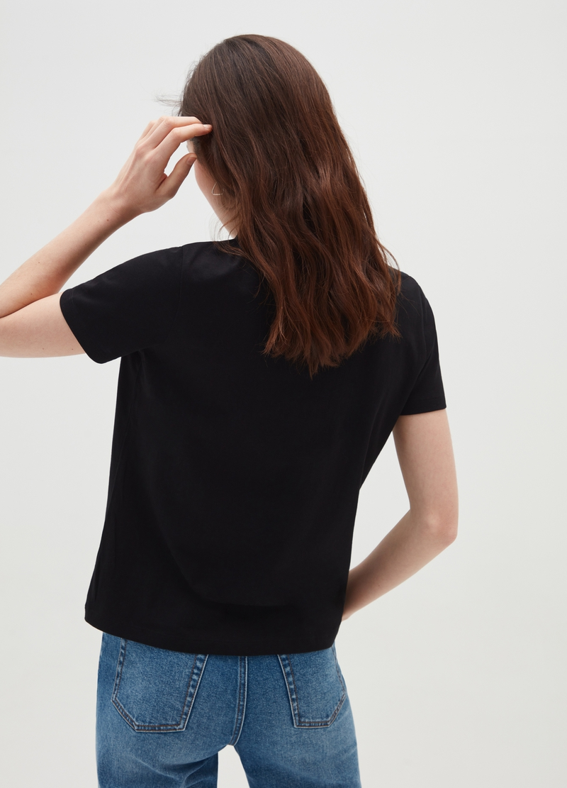 Cotton T-shirt with pleated insert image number null