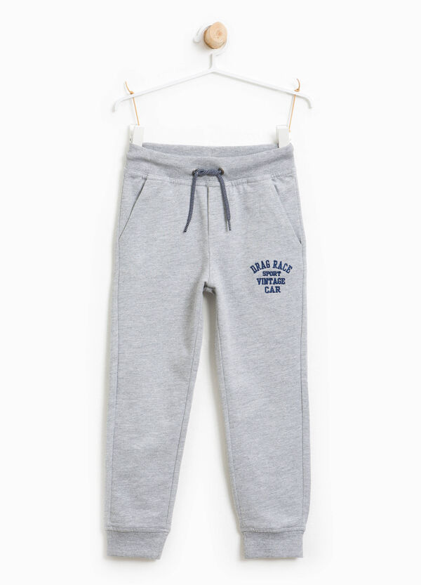 Cotton joggers with lettering embroidery | OVS