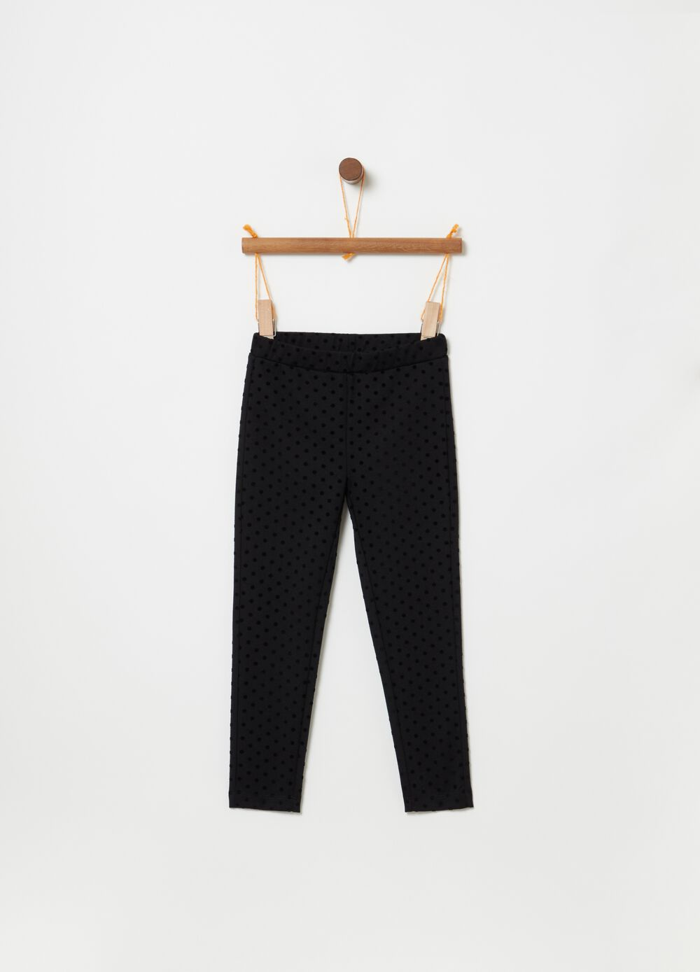 Stretch jeggings with polka dot print