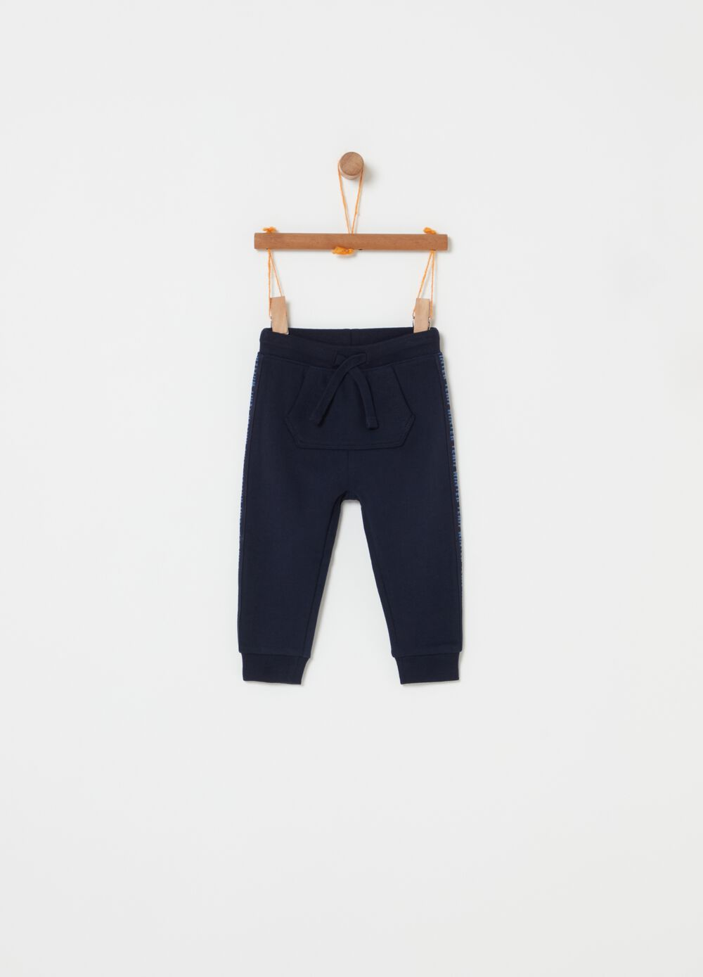 Fleece trousers with pouch pocket