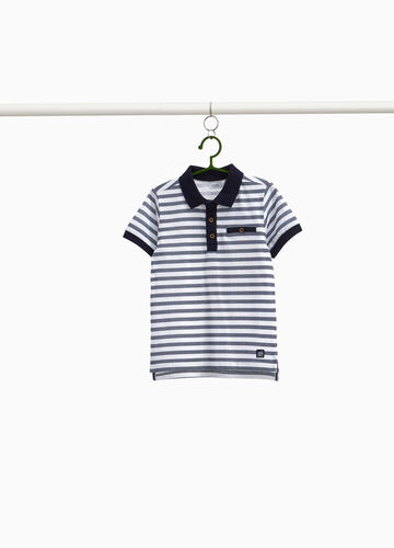 Striped patterned piquet polo shirt