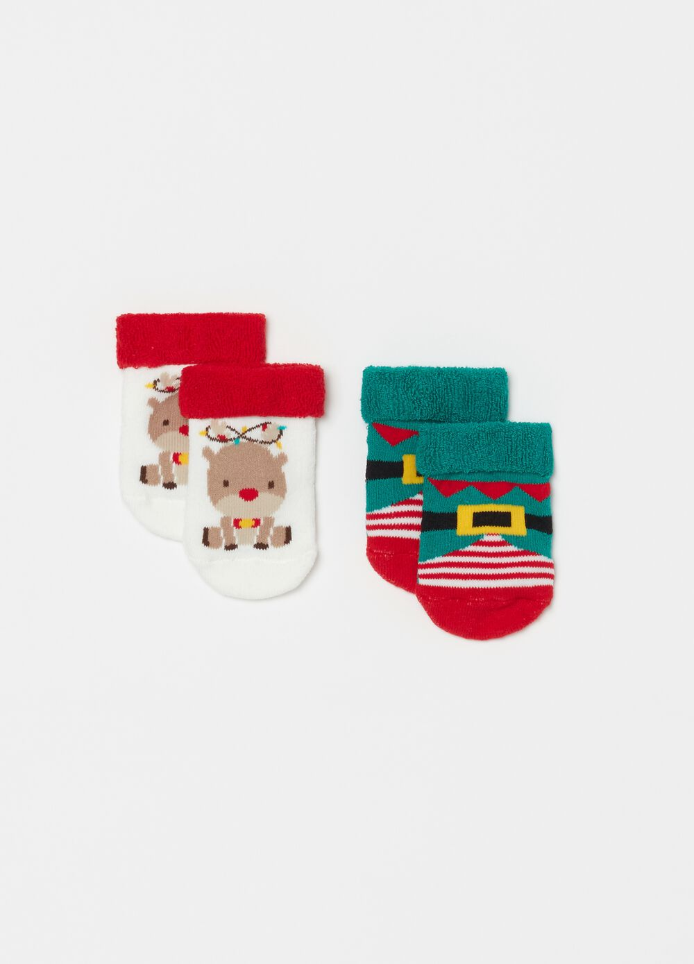 Two-pair pack short socks with reindeer and elf