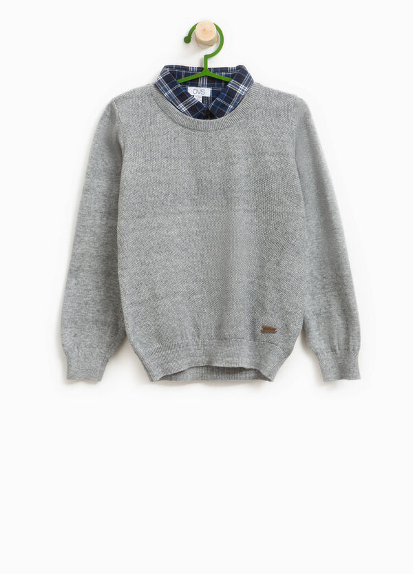 100% cotton pullover with tartan collar