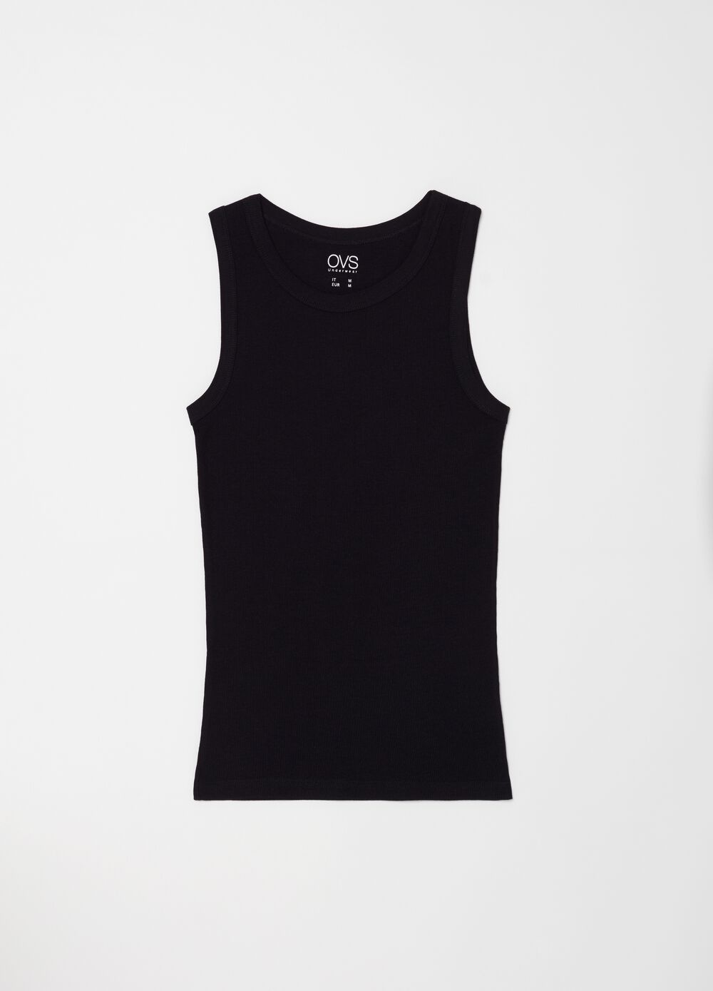 Ribbed cotton racerback top with wide shoulder straps