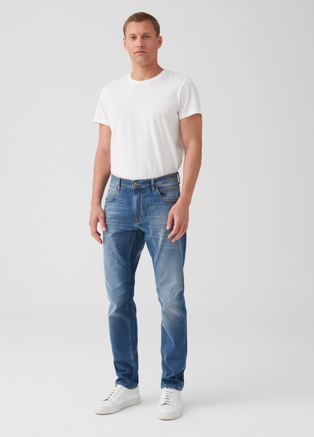 Five-pocket slim-fit stretch jeans