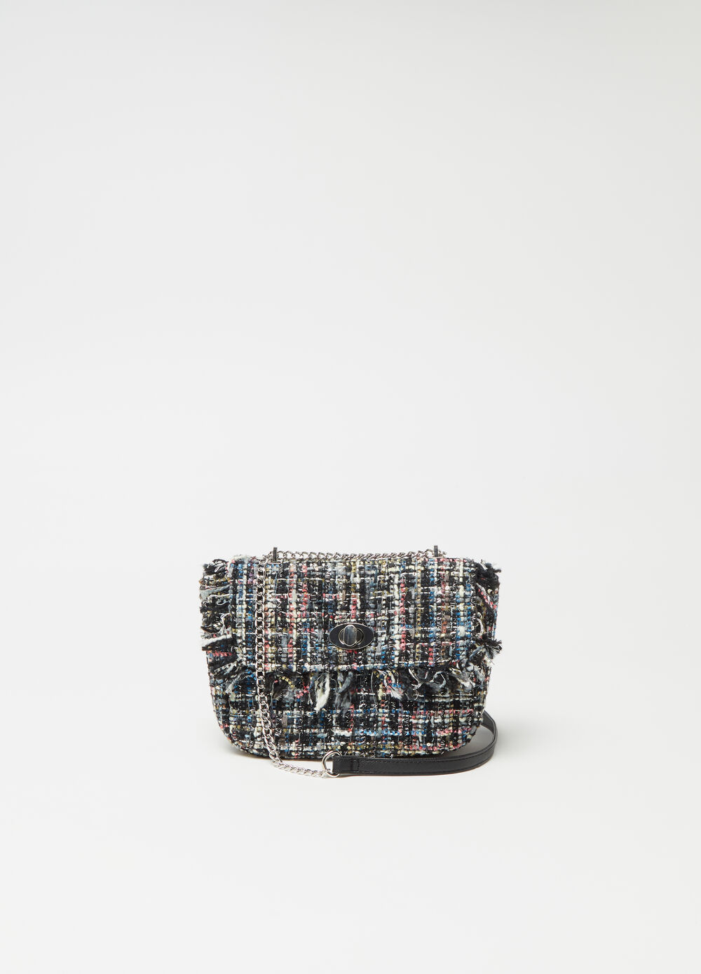 Multicoloured tweed shoulder bag