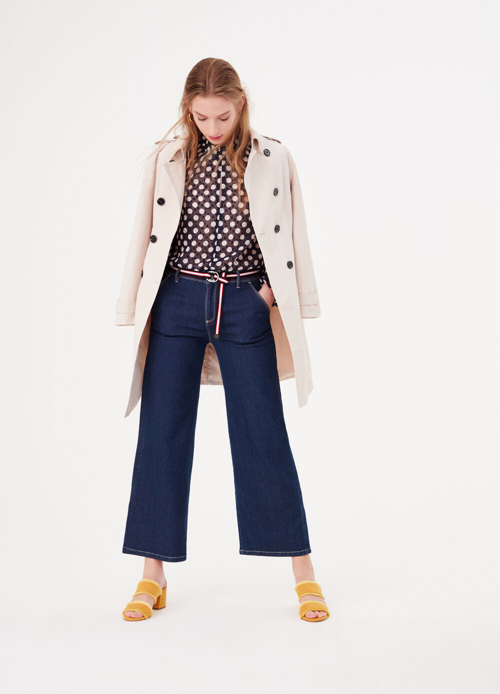 Denim trousers with wide cropped leg