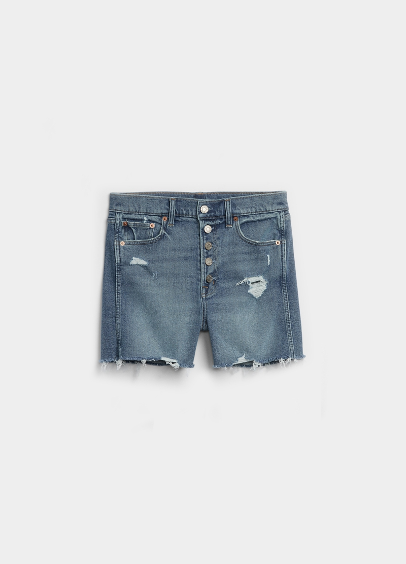 GAP denim shorts with rips image number null