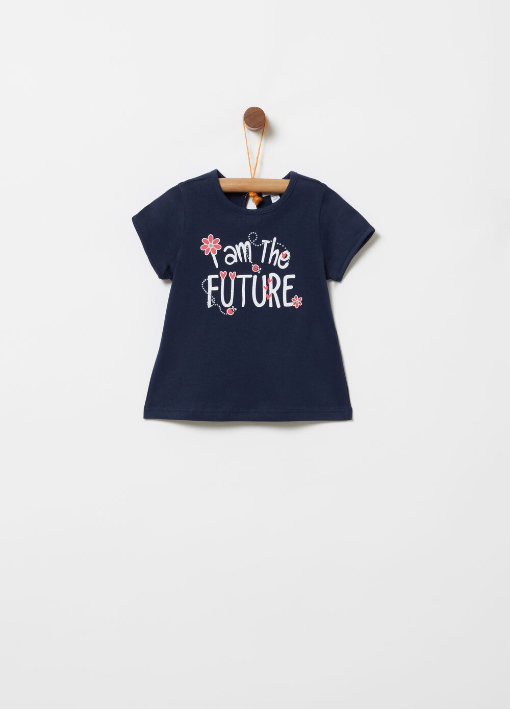 T-shirt in 100% cotton with print and diamantés