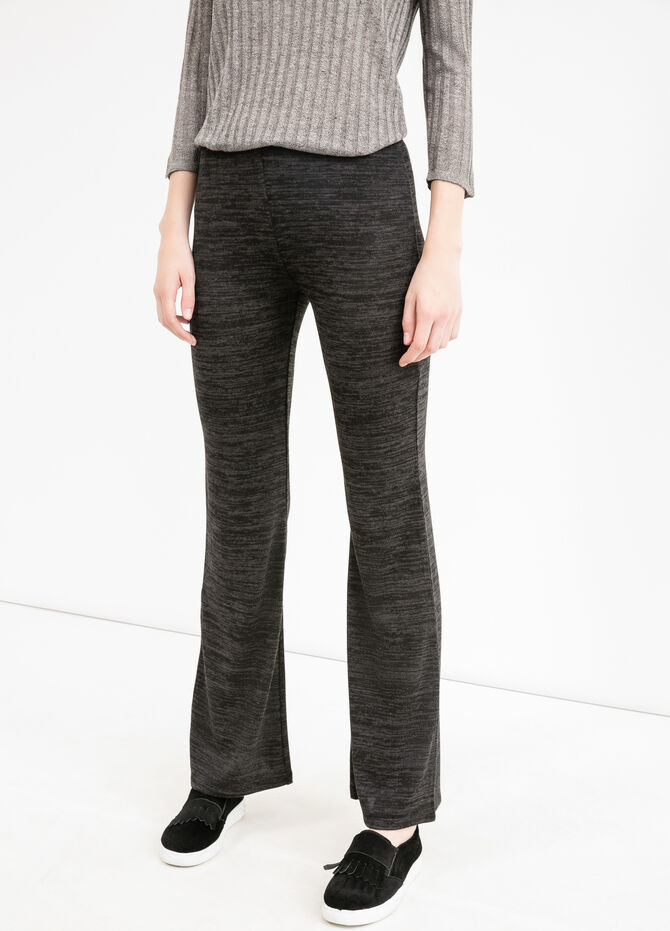 Stretch viscose bell-bottom trousers