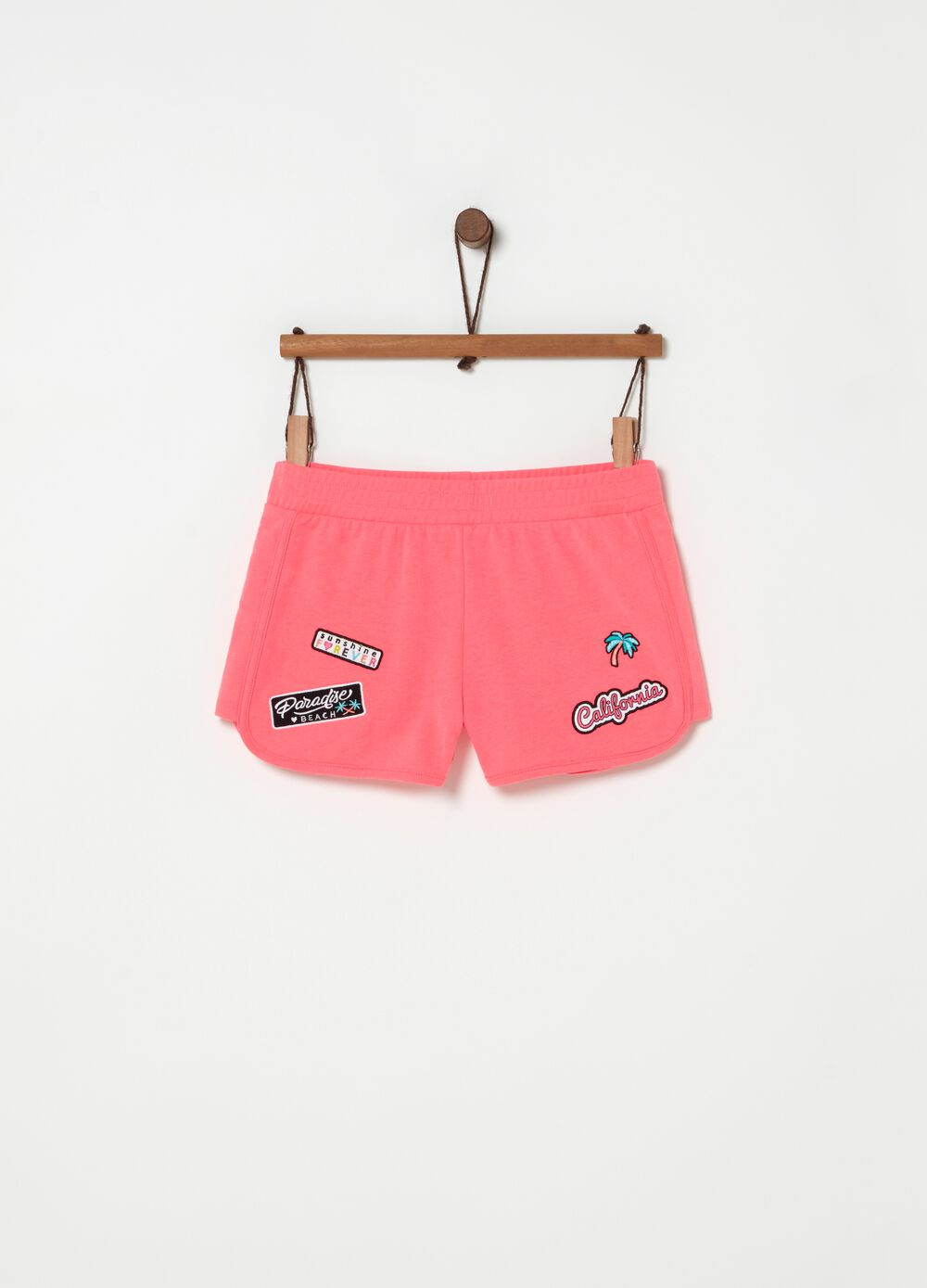 Cotton shorts with lettering and palm patch