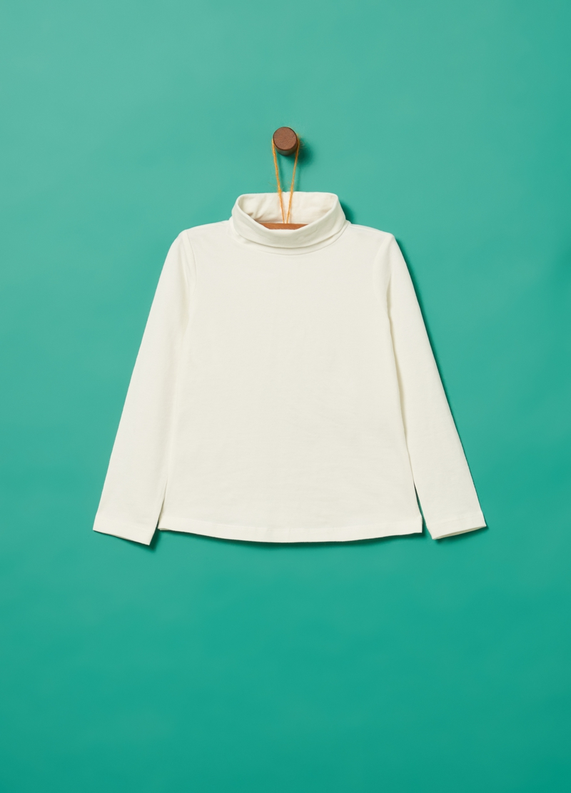 Turtleneck jumper in stretch organic cotton with high neck image number null