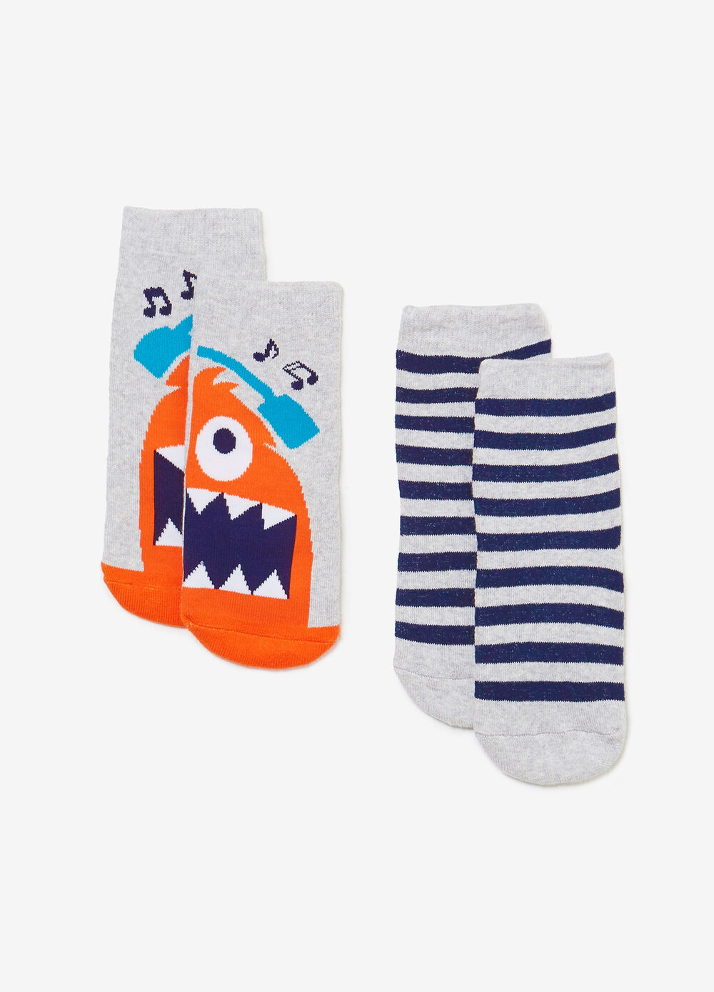 Two-pair pack stripes and print socks