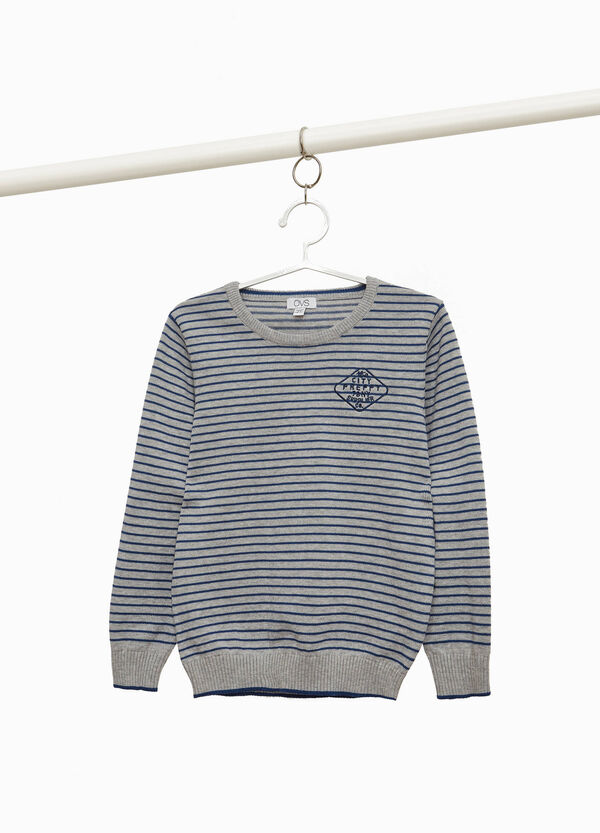 100% cotton striped pullover with embroidery