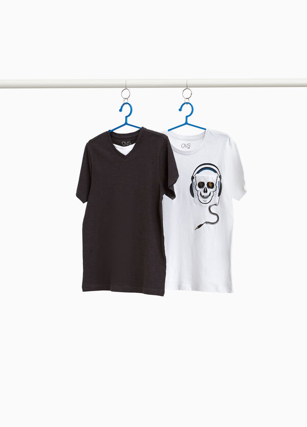 Two-pack T-shirts with skull and faux layer