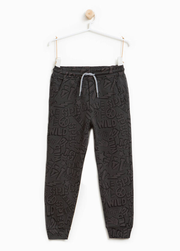 Cotton joggers with lettering pattern | OVS