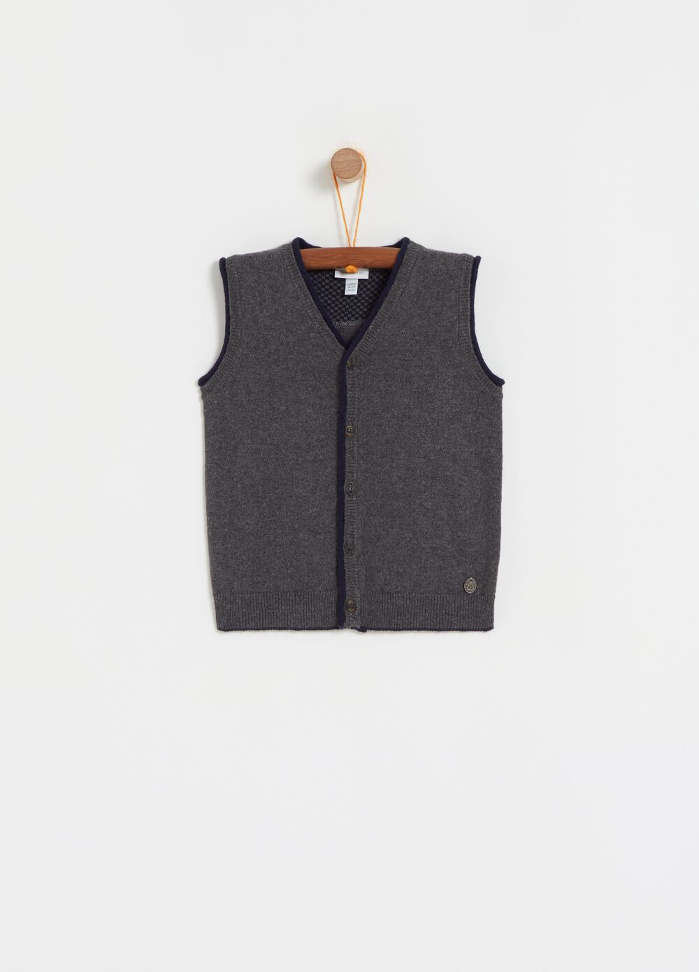Wool and cotton mélange gilet with buttons