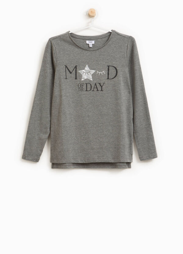 Stretch cotton T-shirt with printed lettering