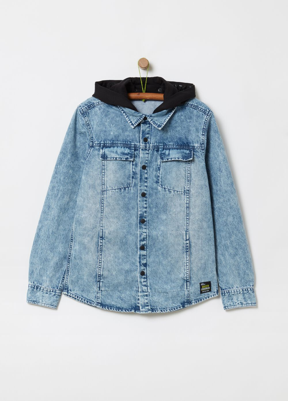 Denim shirt with hood