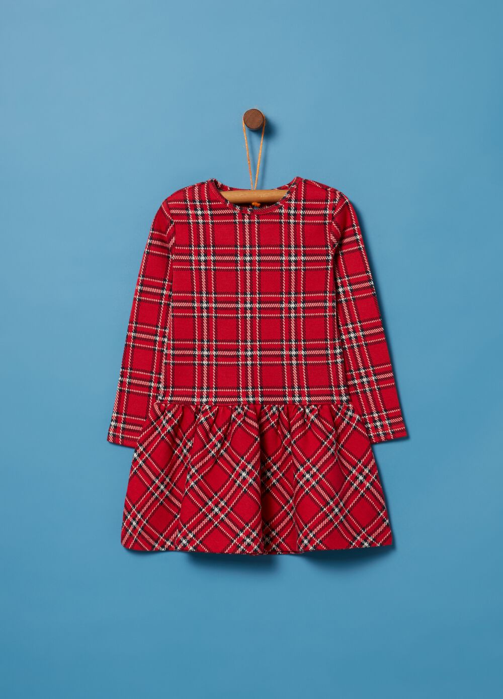 Dress with lurex and check pattern