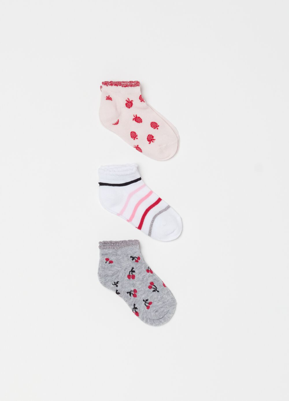 Three-pair pack short socks with print and pattern