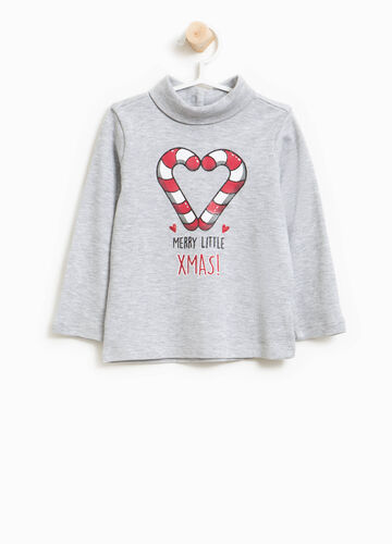 Turtleneck jumper in cotton with Christmas print